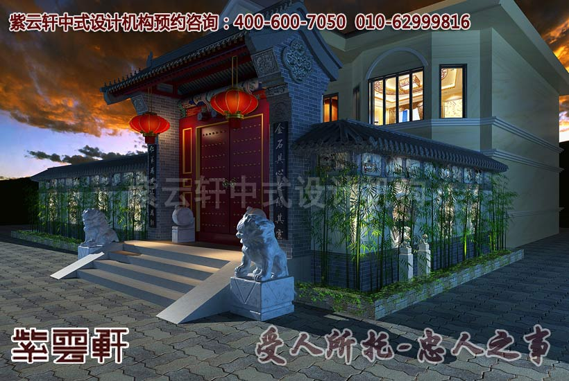 古典中式别墅大门处装修效果图