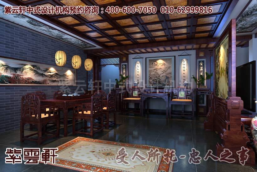 古典中式风格别墅门厅装修设计效果图