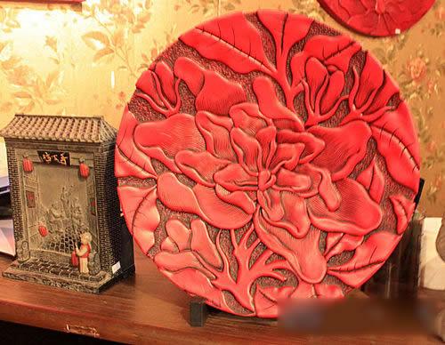 圆形花纹 中式红色