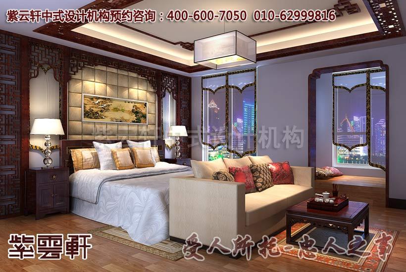 红木花格装饰的床头背景又给空间增添少许古典韵味.