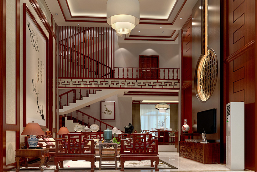 别墅客厅古典中式装修效果图图片