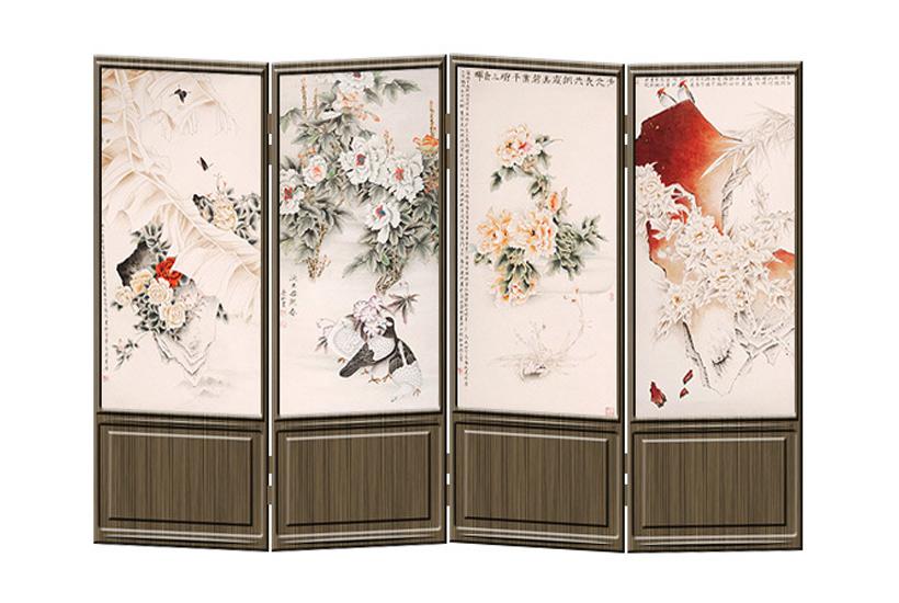 屏风的制作多样,有挡屏;实木雕花;拼图花板组合而成,还有黑色描金屏风