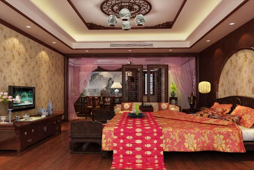 中式家居装修设计中,搭配适当厚度的窗帘