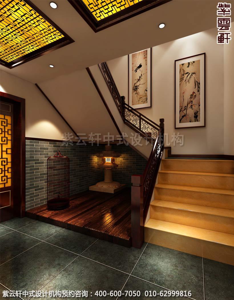 休闲会所地下楼梯古典中式装修效果图