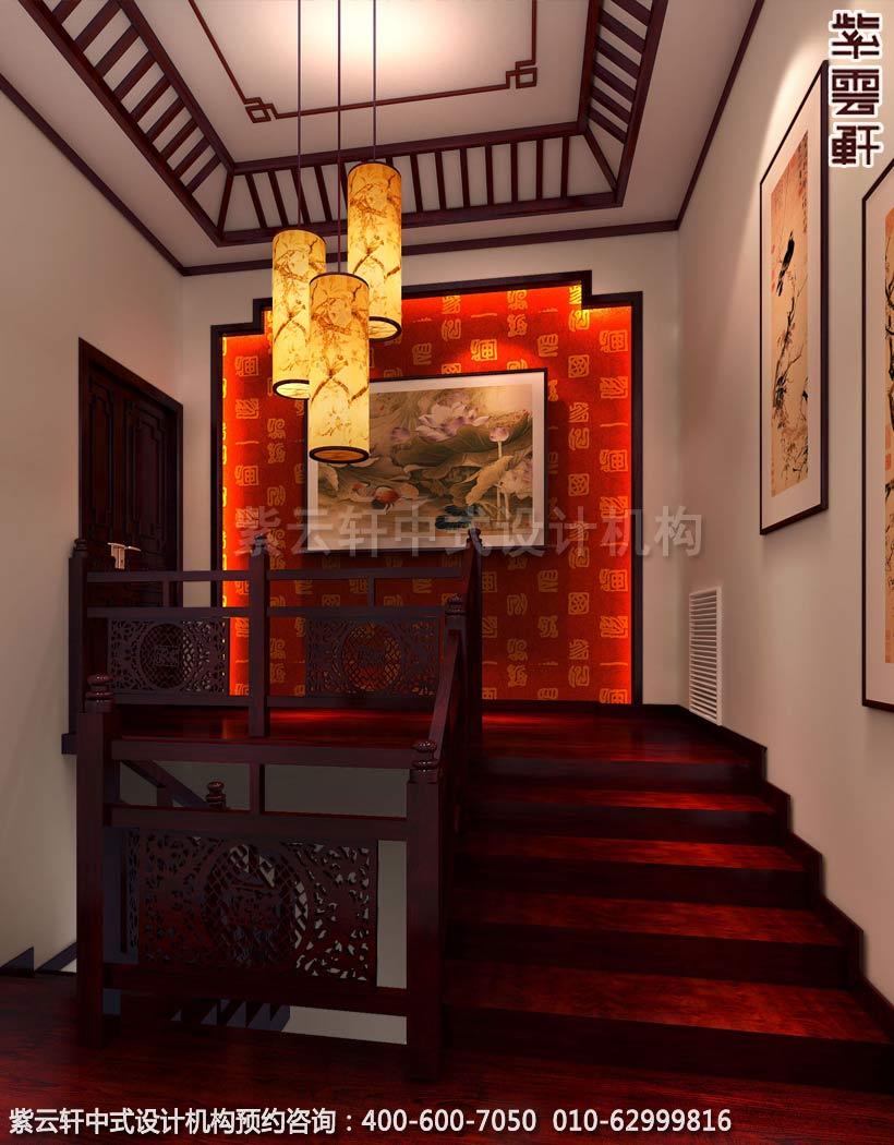 休闲会所三楼楼梯间古典中式装修效果图