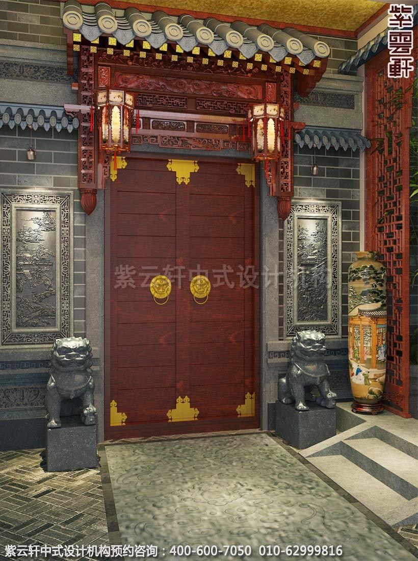 别墅玄关古典中式装修效果图