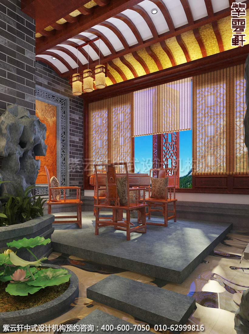 别墅棋牌室古典中式装修效果图