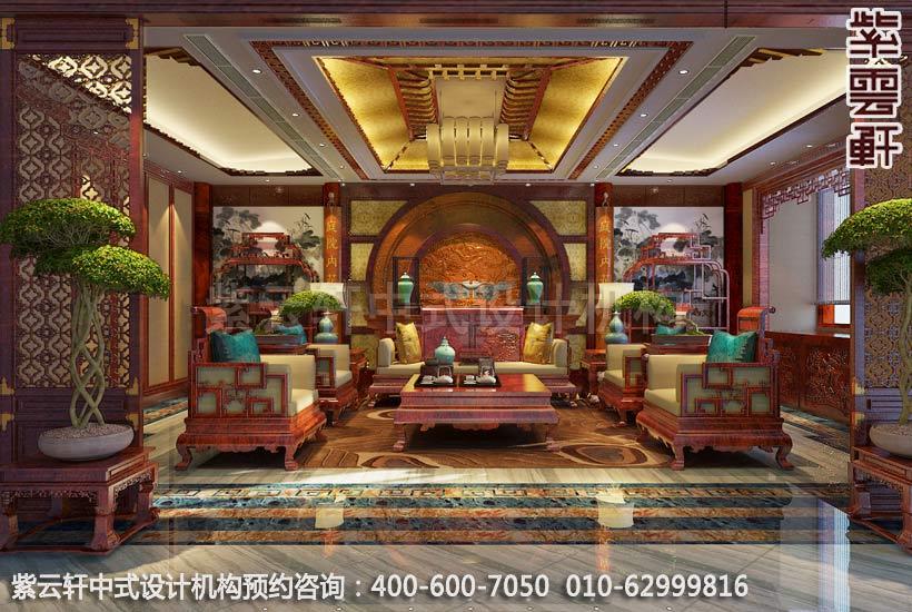 别墅客厅古典中式装修效果图