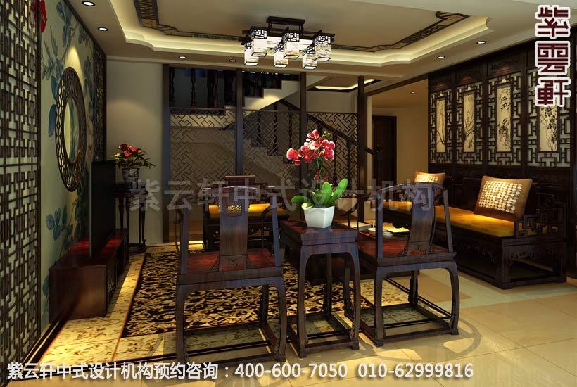 复式客厅简约中式装修效果图