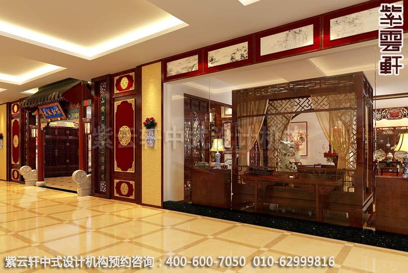 红木家具展厅正门古典中式装修效果图