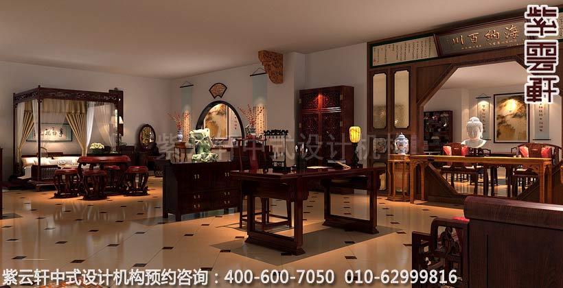红木家具展厅展区古典中式装修效果图