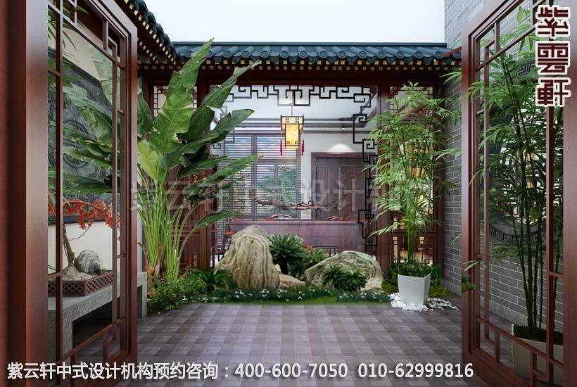 别墅中庭院现代中式装修效果图