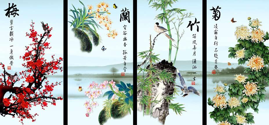 中式室内梅兰竹菊水墨屏风画—显绰约风姿