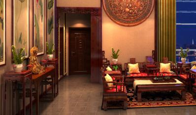 现代中式风格青岛别墅装修案例—高贵典雅禅意居