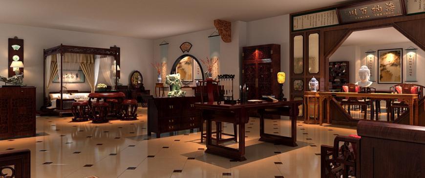 红木展厅古典中式装修案例图—精致完美红木艺术馆