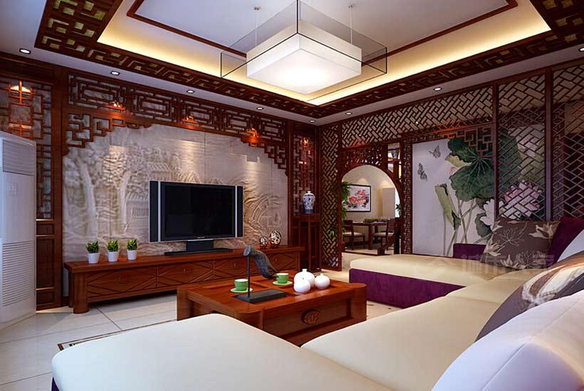 别墅中式装修如何让客厅沙发散发魅力光彩