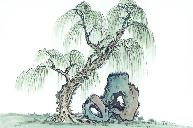 儿童画柳树的画法-分享山水画中四种不同种类树木的画画手法