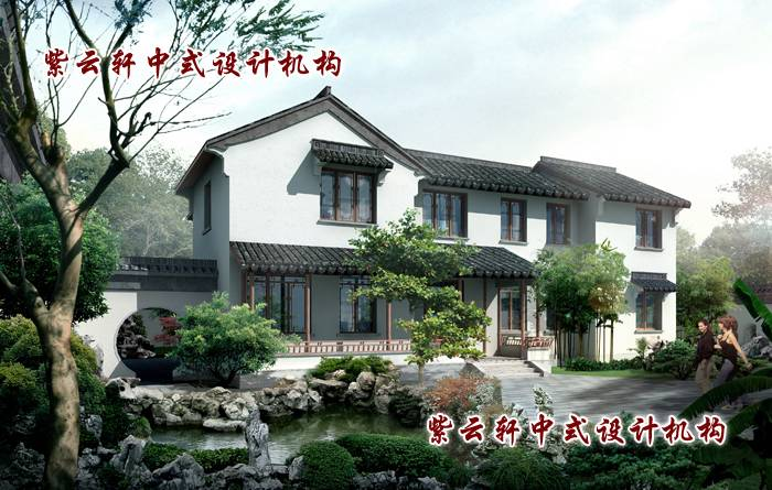 模仿江南园林景观设计的现代中式装修别墅