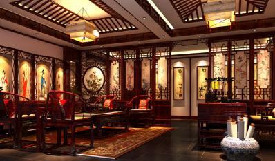 中式风格红古轩办公室会所案例—让心灵回归自然图片