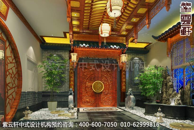 私人会所电梯厅古典中式装修效果图