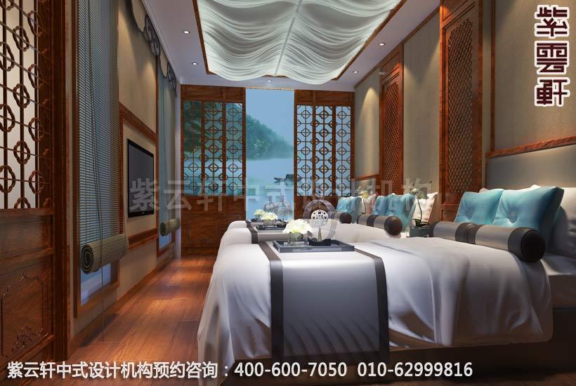 古典中式装修私人会所睡眠区设计既视野宽阔又温馨洋溢,豪华软装大