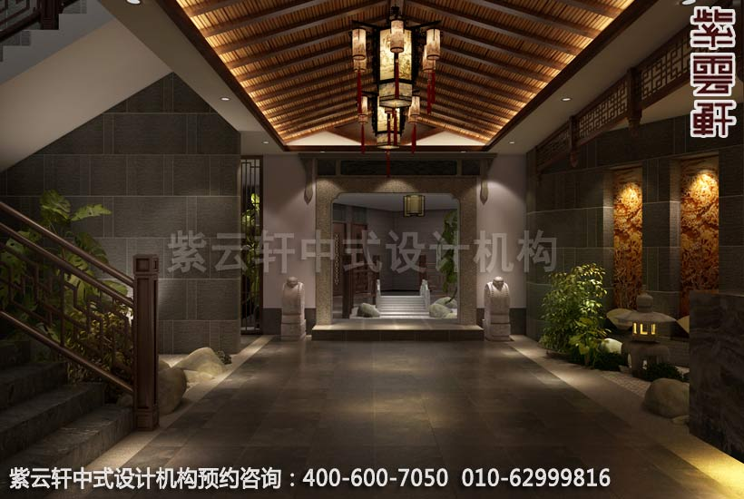 足浴店面大厅简约中式装修效果图