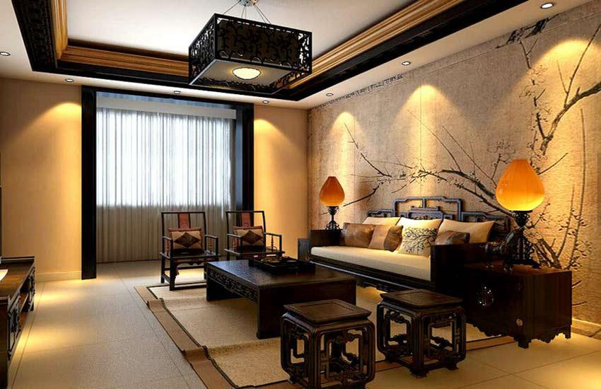 紫云轩分析现代住宅客厅中式装修风格的汇总高清图片