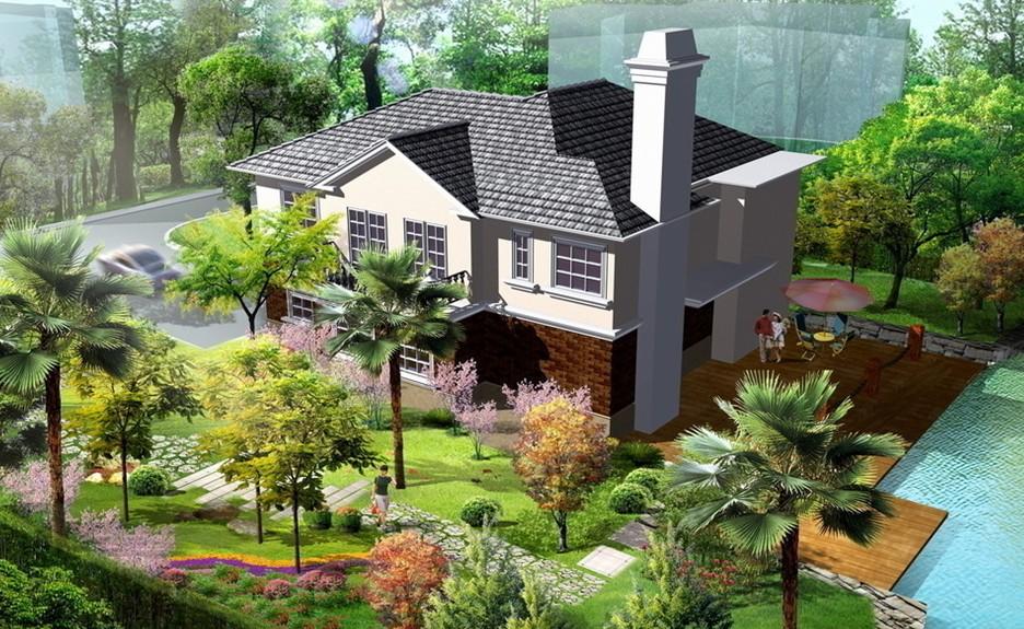 中式装修别墅庭院