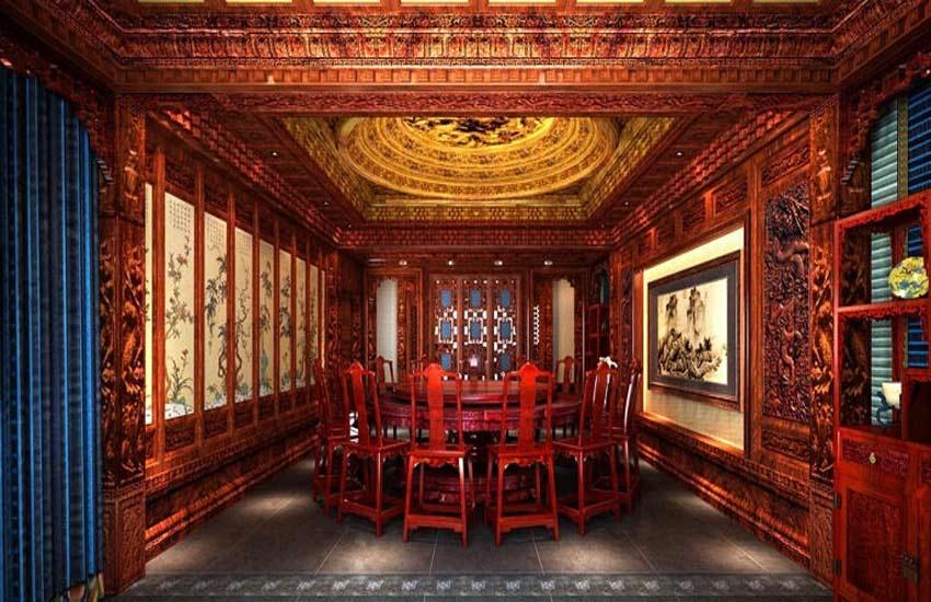 概述:现代家居餐厅中式装修餐厅在我们日常中并不少见,但是,如何才能把这种风格发挥得淋漓尽致就不是那么简单了。作为家装中的重要环节之一,餐厅的设计或多或少成为大家的难题之一。不过大家不必担心,下面紫云轩中式设计小编给大家介绍几款中式风格餐厅设计推荐,看完以后您一定心中有数。    餐厅中式装修华丽优雅风   朱红色的餐桌椅,配上精致的灯饰,使整个空间硬朗而又华丽、优雅。餐厅的装修又是木质镂空隔断,大气经典。墙面的壁纸与吊灯都显示出一种富丽堂皇的感觉。    餐厅中式装修清新时尚风   整个餐厅空间没有什