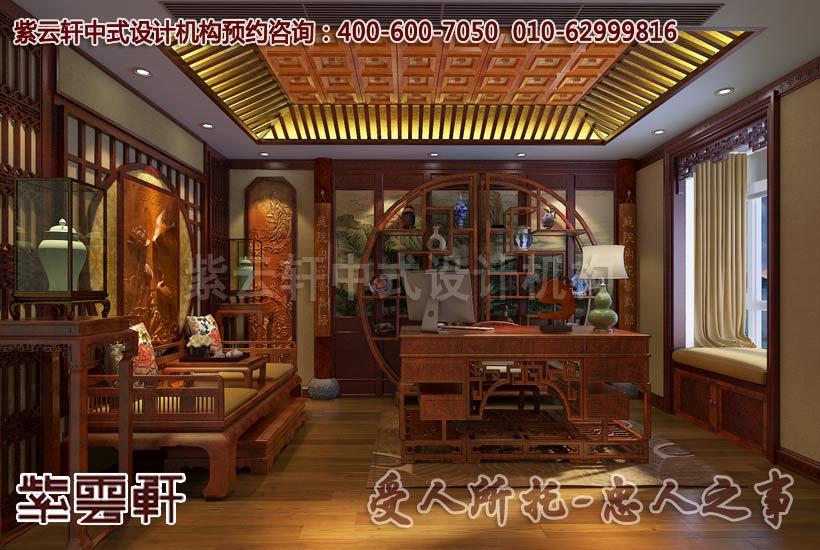 中式装修书房的书画桌案让你漫享闲适之乐