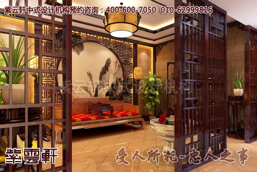 中式装修休闲会所要从三个方面来选择壁纸