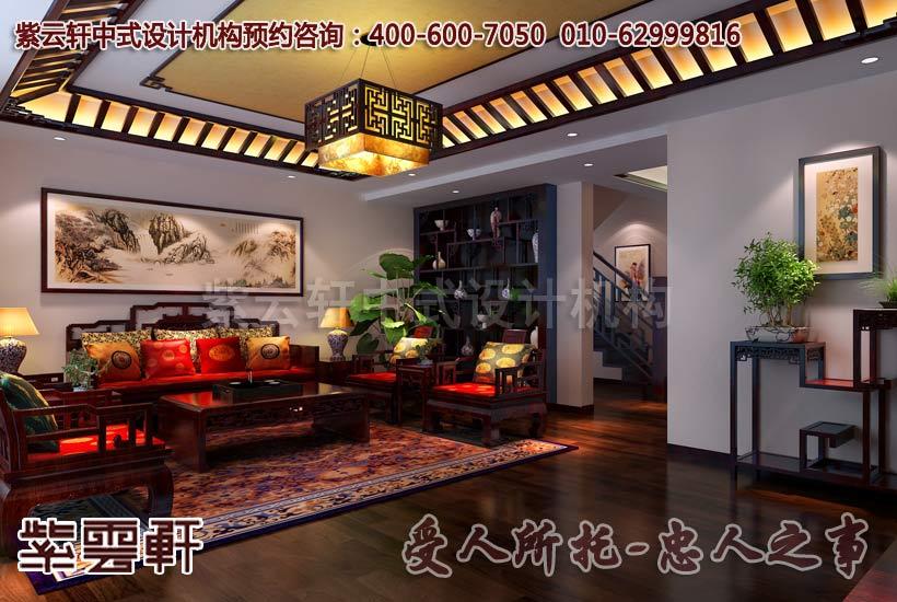 现代家庭中式装修之客厅红木家具摆放技巧高清图片