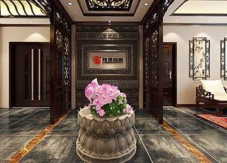 江苏南通何先生办公会所中式装修设计效果图赏析