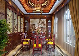 江苏无锡古典别墅中式装修设计案例效果图赏析