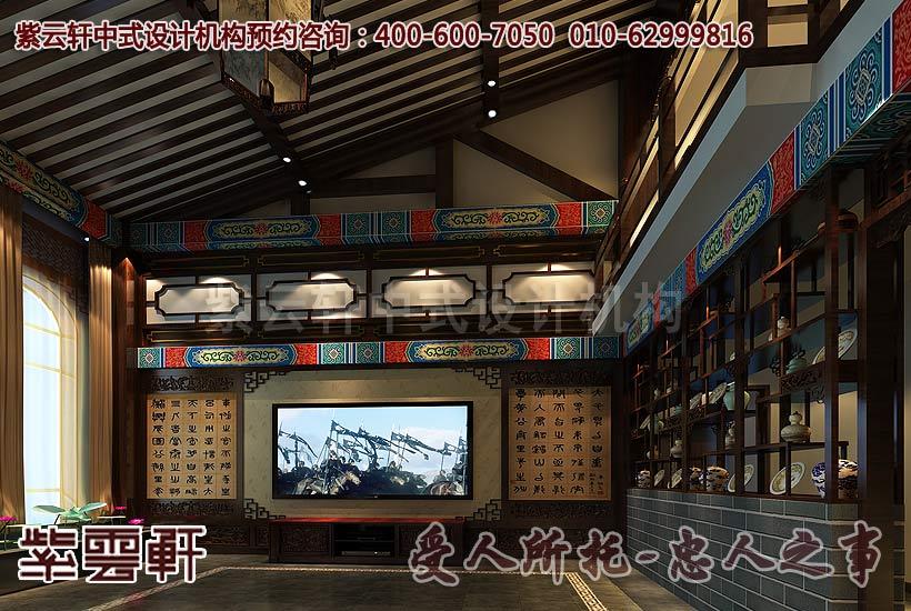 别墅客厅中式装修效果图1