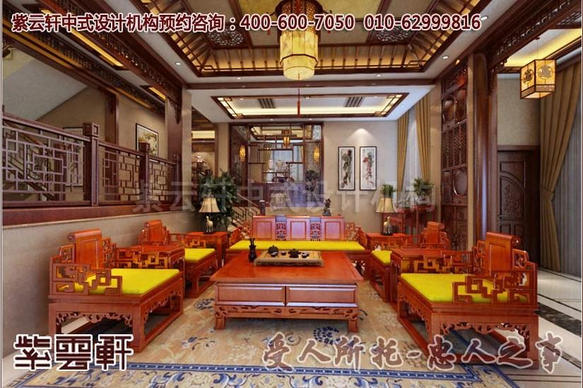 现代中式风格别墅客厅装修案例图