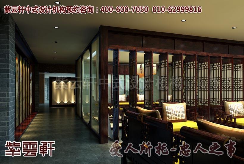 中式风格办公室走廊设计效果图