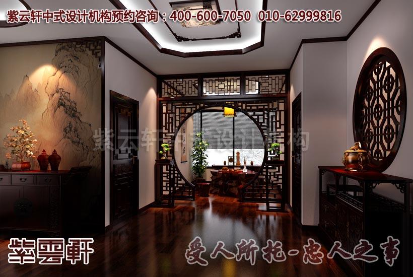 中式风格办公室二层走廊设计效果图