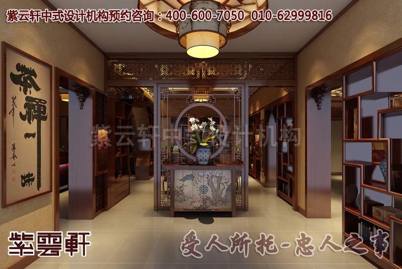 现代中式中式风格茶餐会所玄关设计装修案例图