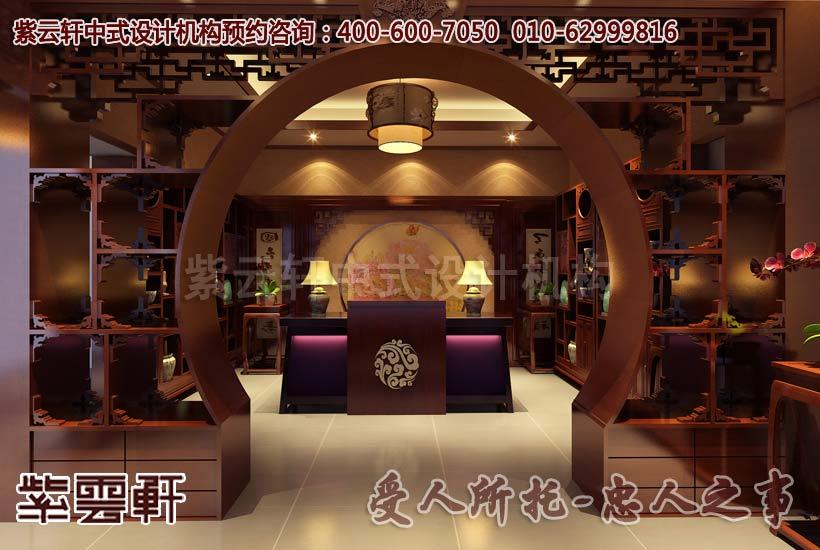 现代中式中式风格茶餐会所收银服务台设计装修案例图