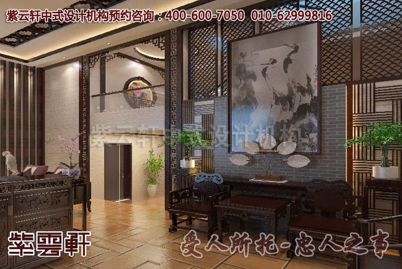 现代中式风格别墅中堂设计装修案例图