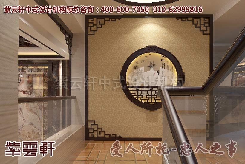 现代中式风格别墅楼梯间设计装修案例图