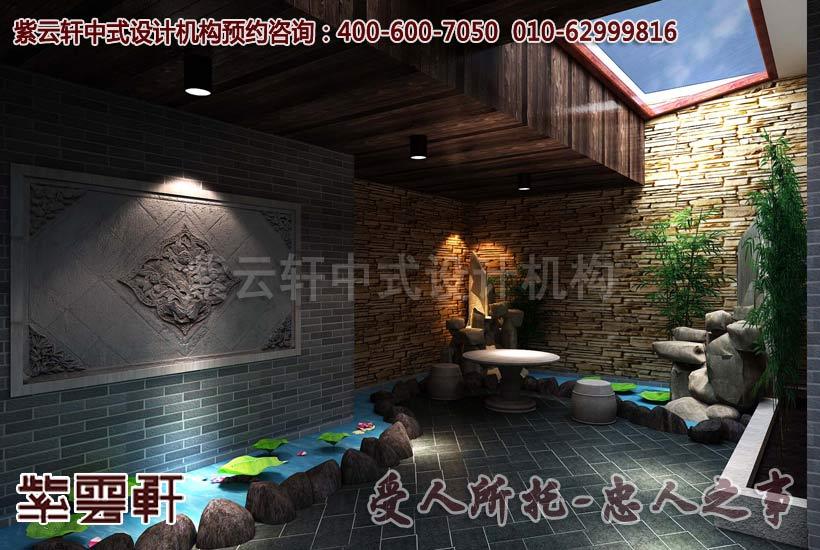 现代中式风格别墅地下室设计装修案例图