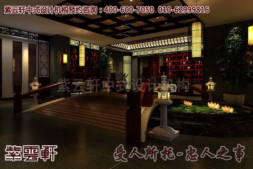 现代中式风格茶楼过道设计装修案例图