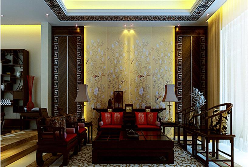 中式装修客厅手绘背景墙画—让生活与艺术共舞