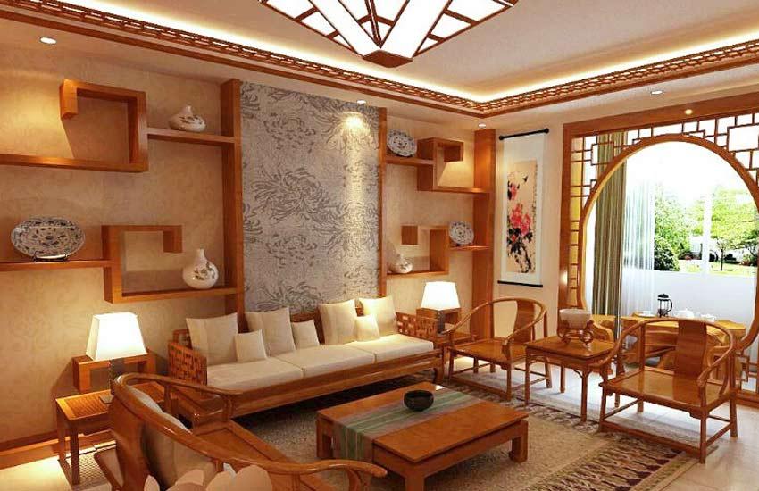 现代中式装修家居中一盏古灯晕染几许风情