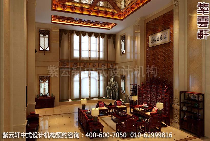 别墅大客厅现代中式设计案例图