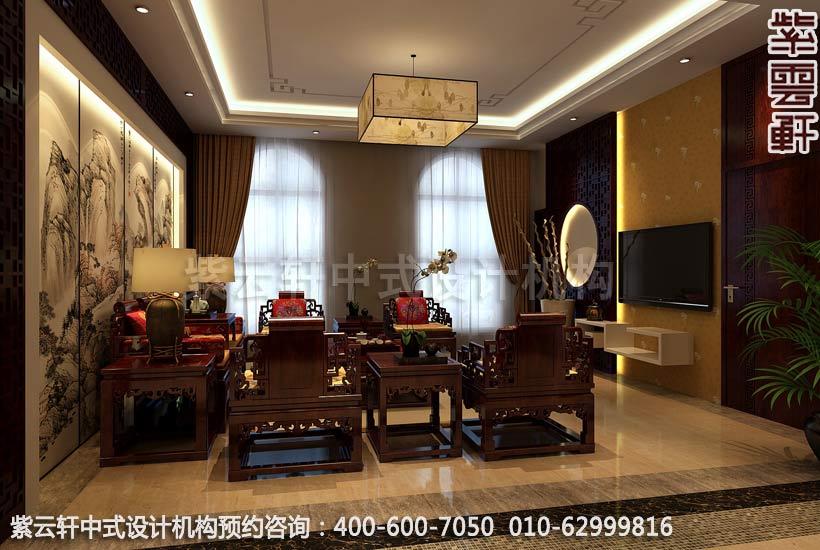 别墅小客厅现代中式设计案例