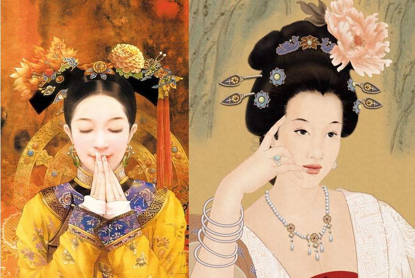 中式古典衣服花纹素材