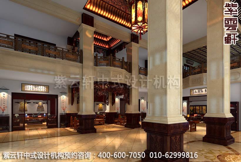 红木馆大厅新中式设计案例图